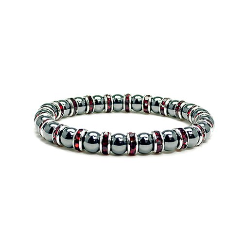 Beads Magnetic Bracelet (Accents Kingdom Women's Magnetic Hematite Tuchi Simulated Pearl Bracelet with Simulated Garnet Crystal, 7.5