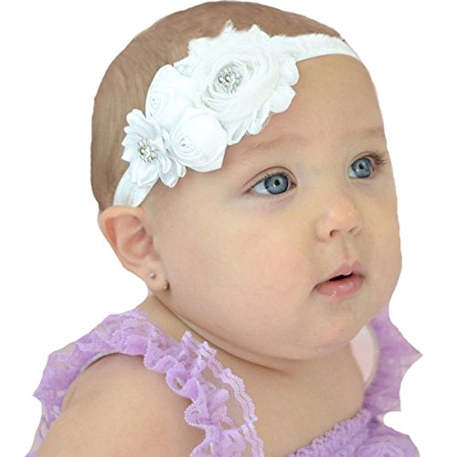 White Rose Headband (Miugle Baby Christening Headbands Baby Girls Baptism Headbands)