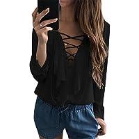 BBYES Womens Sexy Tops V Neck Lace Up Long Sleeve Chiffon Ruffled Blouses Shirt