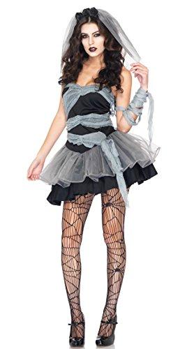 [BeautyXTP Women's Halloween Custome Vampire Ghost Zombie Bride Witch Fancy Dress (Black)] (Singer Fancy Dress Costumes)