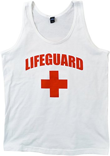 UPC 616043589695, Life Guard Tank Top - Unisex Slightly Fitted White With Red Cross (Large)