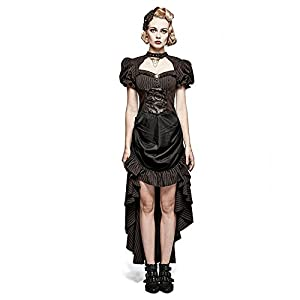 Steampunk Coffee Puff Sleeve High Low Evening Dress Palace Burn-out Gear Shape Party Dress