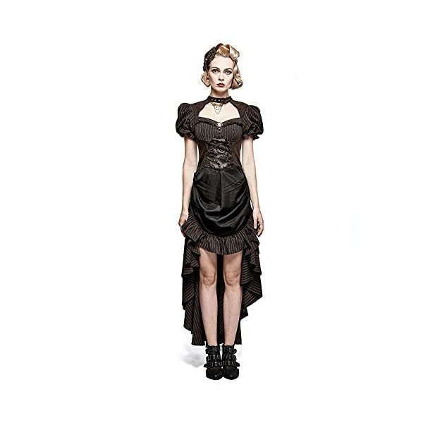 Steampunk Coffee Puff Sleeve High Low Evening Dress Palace Burn-out Gear Shape Party Dress 3