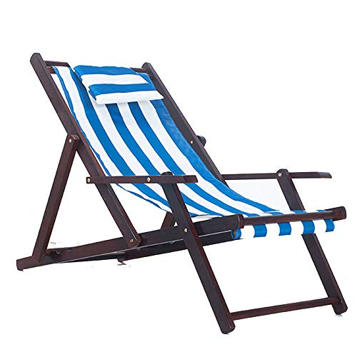 Amazon.com: YONGYONG Beach Chair Solid Wood Recliner Folding ...