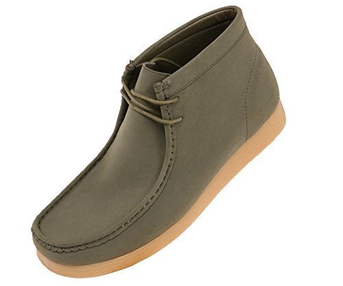 up Rubber hightop Olive Crepe Like High Amali Faux Low Casual Boots Suede Lace Men's suede Sole Top leather 1TwHq8W7