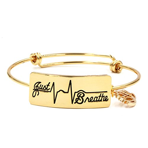 Inspirational Bracelet for Women Engraved Just Breathe Bangle Jewelry for Ladies
