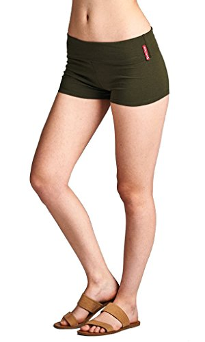 Active Yoga Pants Gym Workout Waist Band Solid Fold Over Hot Shorts supplier