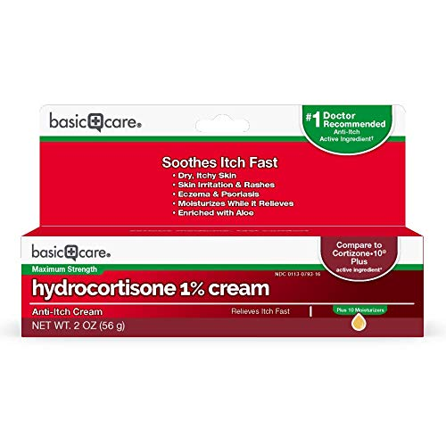 Basic Care Hydrocortisone 1% Cream, Anti-Itch Cream, 2 Ounce ()