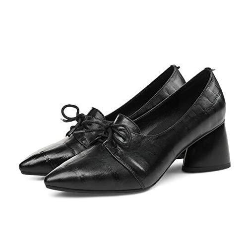 Shoes Spring Women's ZHZNVX Green Black Comfort Heels Green Heel Sheepskin Chunky n5xwS
