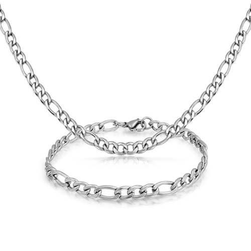 Ben Junot Choice 5 MM Women Set Stainless Steel Necklace + Bracelet Figaro Link (20 Inches)
