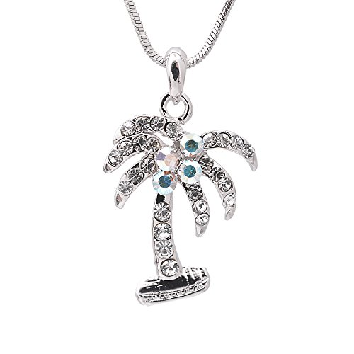 (Silver Plated Crystal Palm Tree Necklace (Clear)