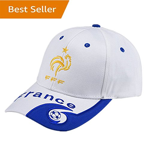 France National Team Soccer Cap - Adjustable Embroide White Authentic 2018 Russia World Cup Away Fans White Baseball Cap Hats by FCCAP-World