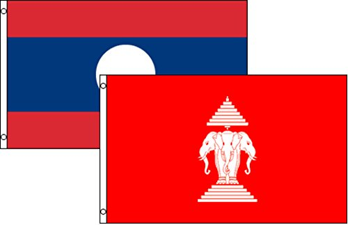 3x5 3'x5' Wholesale Combo Set Laos Old & New 2 Flags Flag