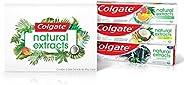 Kit Creme Dental Colgate Naturals Extracts, Citrus e Eucalipto, Coco e Gengibre e Carvão Ativado e Menta, 3 un