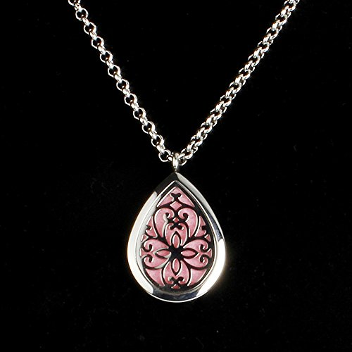 Adecco LLC Stainless Steel Teardrop Cage Clover Aromatherapy Essential Oil Diffuser Perfume Necklace Carved Locket Pendant,10 Felt Pads (flower) (Aromatherapy Perfume)