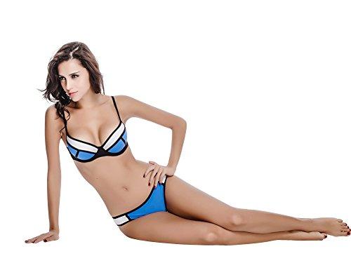Le Besi Mujer Colorblock–Splice filas correas elegante Bañador Bikini blanco