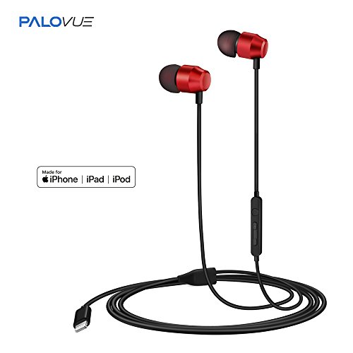 PALOVUE Earflow In-Ear Lightning Headphone Magnetic Earphone MFi Certified Earbuds with Microphone Controller for iPhone X iPhone 8/P iPhone 7/P (Metallic Red)