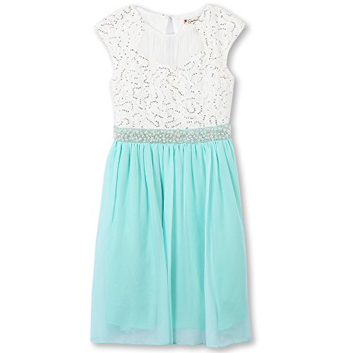 Speechless Big Girls' Cap Sleeve Party Dress With Sparkle, Ivory/Aqua, (Tween Easter Dresses)