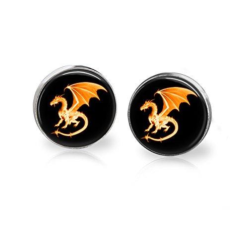 - Dragon on Fire Stud Earrings Stainless Steel 12mm