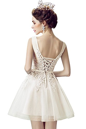 Short Tulle Gown Homecoming Babyonline Prom Lace Bridesmaid Dresses Ivory Neck V wfwxI7W