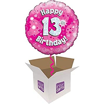InterBalloon Helium Inflated Happy 13th Birthday Pink Balloon Delivered In A Box