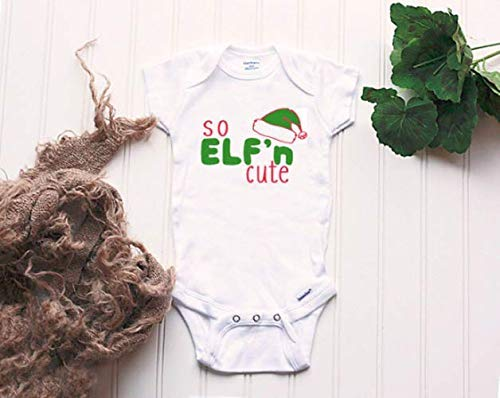 So Elf'n Cute Onesie® - baby's first Christmas, santa's little helper, elf bodysuit, ugly sweater Onesie®, funny Christmas Onesie®, gift -