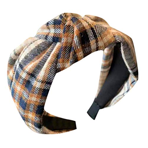 - Coedfa✿Women's Headband Plaid Bow Cross Tie Velvet Hair Accessories Hoop Accessories Band Wrap for Women Girls Beige