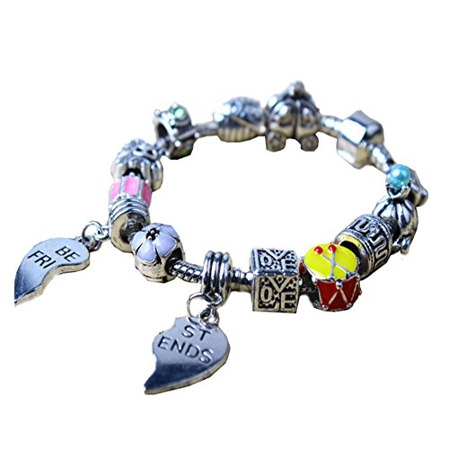 Best Friend Heart Love Flower Car Charm Bracelet Pandora Compatible