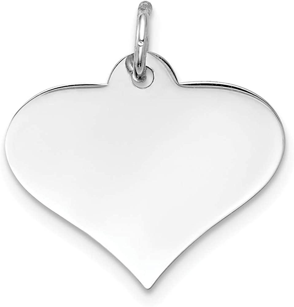 14k Yellow Gold Solid Polished Engravable Plain .011 Gauge Engraveable Heart Disc Charm