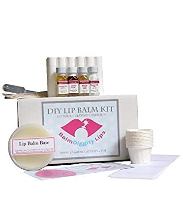 Ultimate Diy Lip Balm Kit Everything You Need For 12 Tubes Melt Pour Balm Base 4 Flavor Oils Labels Mixing Cups Droppers More Easy No