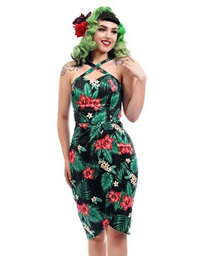 Collectif Clothing Women's Mahina Tropical Paradise Sleeveless Sarong Wiggle Dress Black M