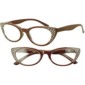 6cf308e9d7 Vintage Red Cat Eye Reading Readers Bling Rhinestones Glasses Rx Strength  +2.25