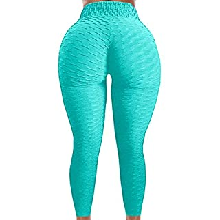 A AGROSTE Women's Butt Lifting Anti Cellulite Leggings High Waisted Textured Yoga Pants Workout Tummy Control Sport Tights