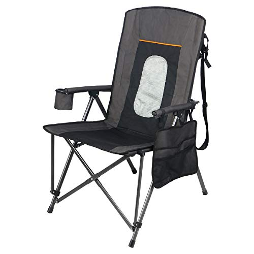- PORTAL Oversized Quad Folding Camping Chair High Back Cup Holder Hard Armrest Storage Pockets Carry Bag Included, Support 300 lbs