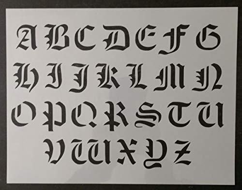 Custom Stencil Old Olde English Font Alphabet 11 x 8.5