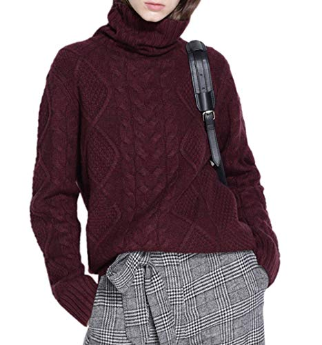 Ailaile Cashmere Wool Sweater Women's Twist Thick Turtleneck Pullover Female Loose Knitted Jumper (L/US Size 10-14, red Wine)