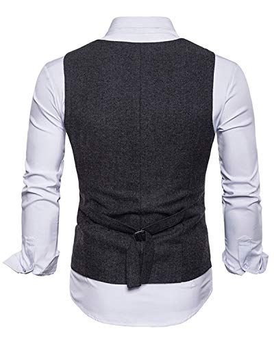 Trajes Casual Negro Hombre Retro Chaleco Ycueust Tweed Blazers Boda wxzCx6