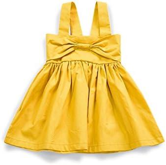 DXXCHUNG ワンピース 女の子 ベビー服 ドレス 夏 吊りスカート キーズ ノースリーブフ リボンイエロー 2way size 70