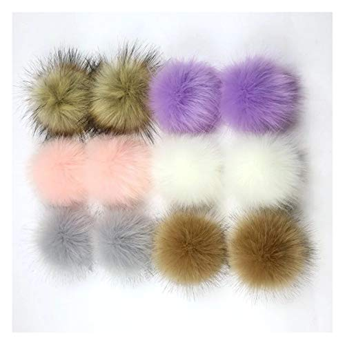 ZOONAI 12pcs Faux Fox Fur Fluffy Pompom Ball For Beanie Hats Shoes Scarves Bag Charms Accessories (A) from ZOONAI