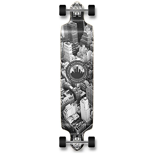 YOCAHER Professional Speed Drop Down Complete Longboard Skateboard (New York)
