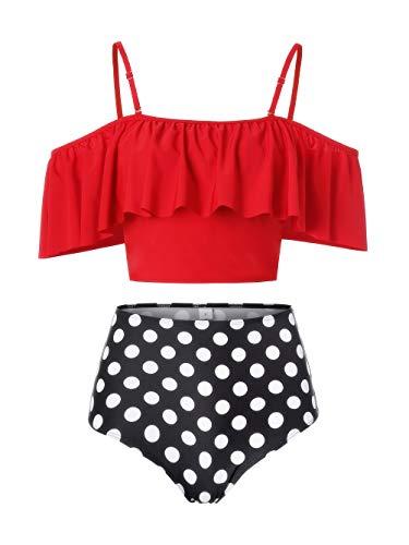 Kaei&Shi Strapless,Strappy Swimwear,Polka Dot High Waisted Flounce Bikini Set,Tummy Control Swimsuits for Women,Off Shoulder Bathing Suit Red XX-Large (Dot Print Bikini)