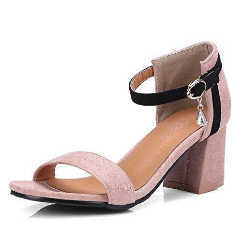 Suède Talon Pâle Bout Hauts Oaleen Bride Strass Chaussures Soirée Cheville Femme Bloc Ouvert Sandales Rose pwIp6zqxH