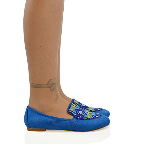 ESSEX GLAM New Womens Flat Slip On Pumps Aztec Embroidered Beaded Ladies Loafers Shoes Blue Faux Suede LSXRJJsAWs