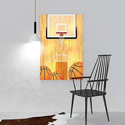 L-QN Color Wall Art Painting Frameless Court Ball Hoop Madness Rim Court Parquet Hardwood Print Ivory Orange Black Hotel Office Decor Gift Piece W20 x H28