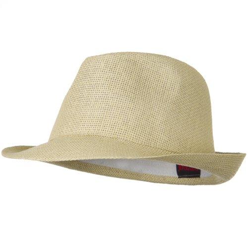 Twisted Toyo Straw Fedora Hat - Natural - (Toyo Straw Fedora Hat)