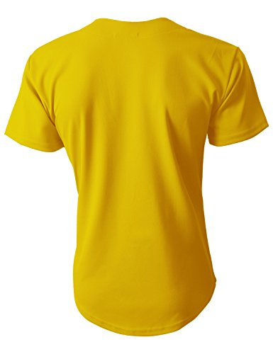 601f851ee9 Hat and Beyond Mens Baseball Jersey Button Down T-Shirts Plain Short Sleeve  (Medium, 1up01_Yellow/Black)