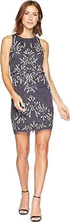 Adrianna Papell Women's Beaded Blouson Halter Cocktail Dress Gunmetal 16
