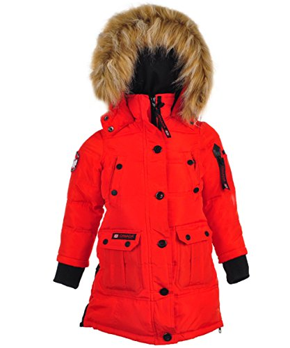 Canada Weather Gear Little Girls' Outerwear Jacket (More Styles Available), Hooded Stadium-CW055-Red, (Insulated Stadium Jacket)