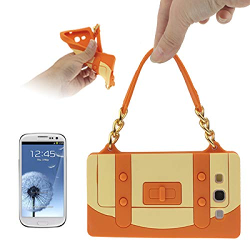 (#52) Cliche Series Handbag Shape Silicon Case for compatible with Galaxy SIII / i9300(Orange) ()