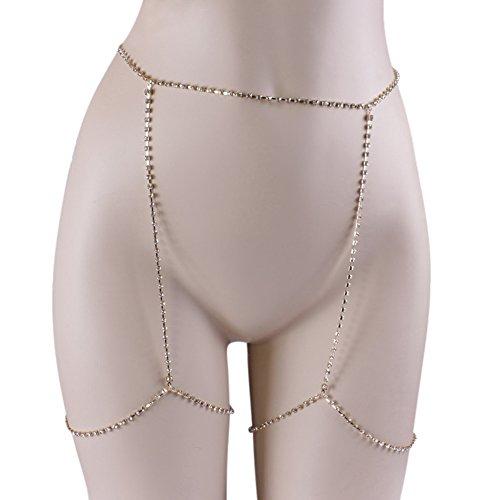 European Stylish Sparkling Rhinestone Sexy Diamond Thigh Body Chain Waist Leg Chain Body Fashion Jewelry Silver Photo #3